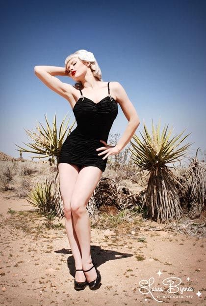 I NEED this!!!!  Vintage Swimsuit - The Marilyn 1pc Retro Swimsuit by Pinup Couture - Black