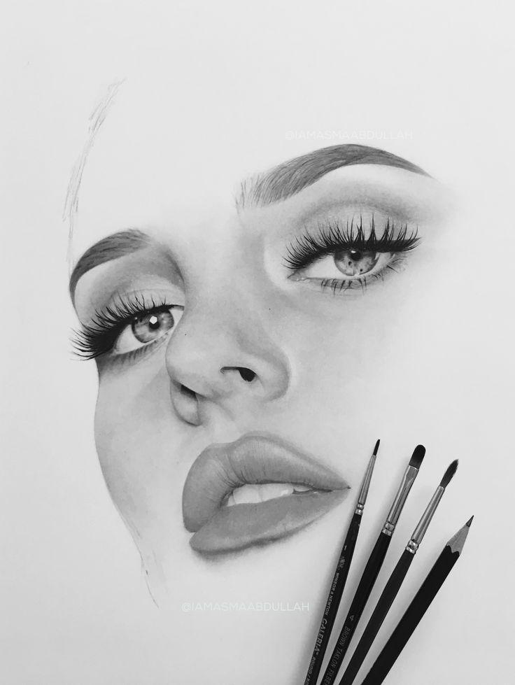 Portrait of Chloe Morello in progress by asma'a abdullah. part3   #drawing #portrait #art #artist #charcoal  #hyperrealisticart #photorealisticart #chloemorello #mua