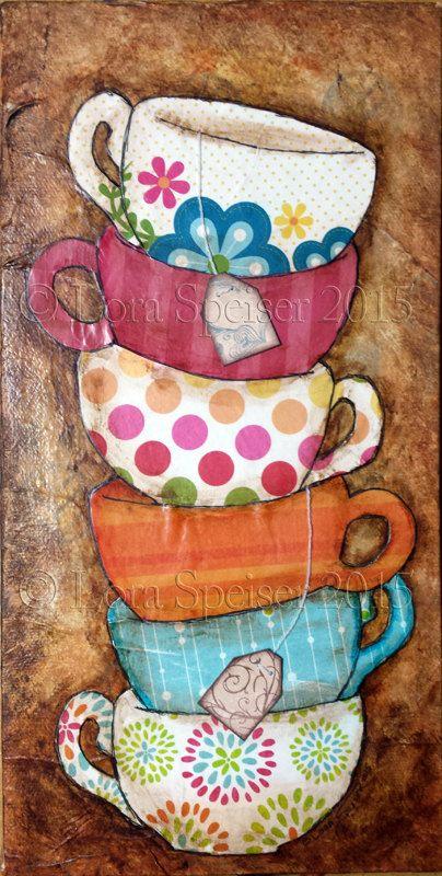 Té tazas pila taza textura pintura mixta acrílico por SpeiserStudio