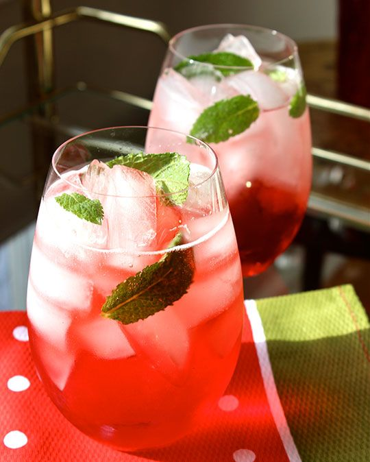 Campari Mint Spritz 1 part Campari 1 part cranberry juice* 3 parts Prosecco, or other sparkling wine such as Cava 5 fresh mint leaves In a glass filled with ice add all of the ingredients, adding the mint last. Lightly squeeze or twist, a.k.a. bruise, the mint leaves and add to the glass. Stir one last time and enjoy!