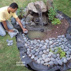water fountain with rock garden.