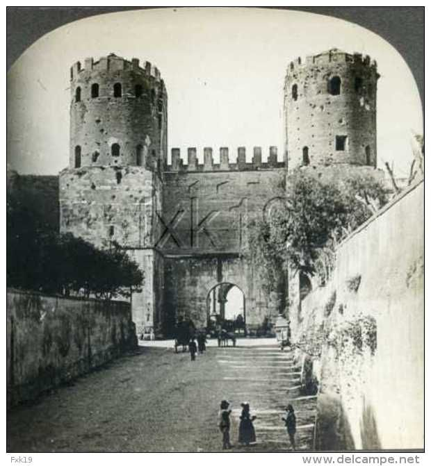 Italy ROME Gate Of St Sebastian Porta Appia Aurelian Wall Stereoview 2007 #13149