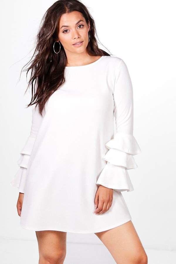 485a9557d465f boohoo Plus Bianca Frill Sleeve Shift Dress | Dresses | Pinterest ...