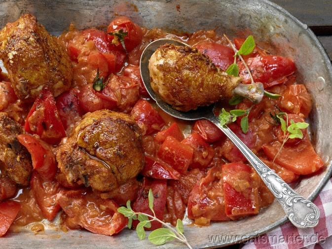 Hähnchen-Paprika-Topf - smarter - mit würziger Joghurtsauce. Kalorien: 626 Kcal   Zeit: 50 min. #lunch