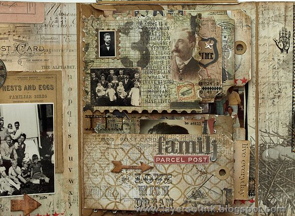 Tim Holtz Family Folio Tutorial, pg. 2 ~ This page shows one of the many ways you can layer your photos and embellishments. Multiple flip tags are covered front and back with photos, ephemera and journaling. Pockets can hold double sided elements that can be taken out to see close-up. Viewers, especially children, love all the details and interaction with the many different flips and pockets.