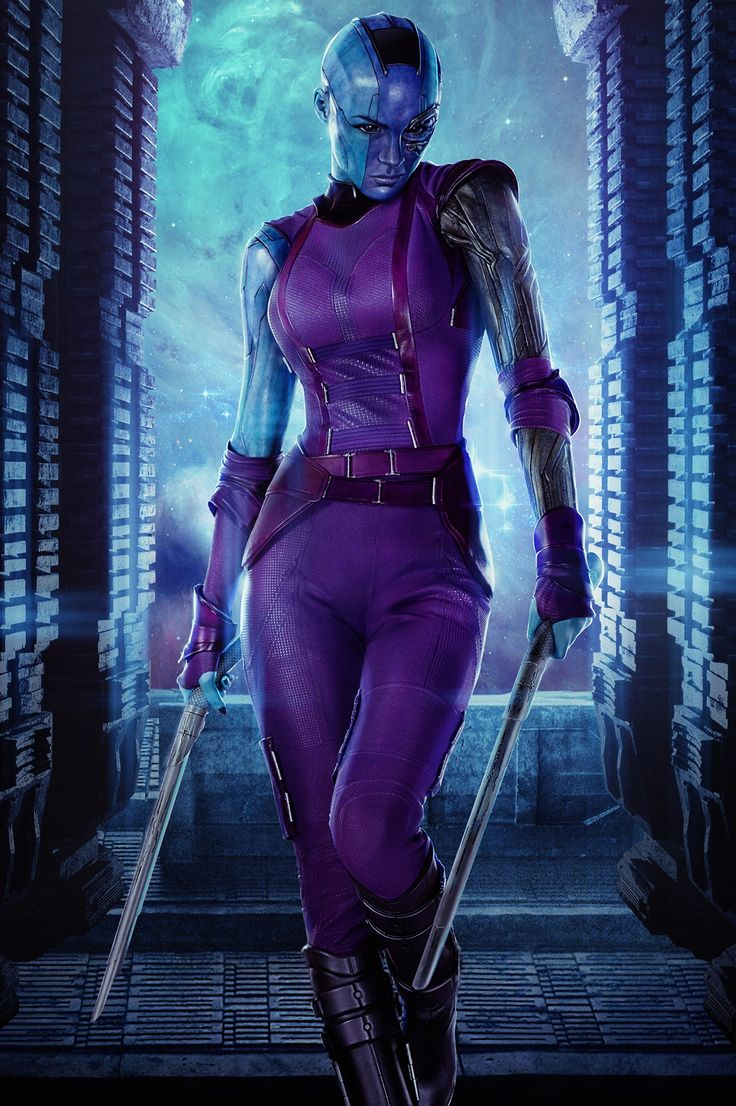 Nebula is a Luphomoid assassin and an adopted daughter of the intergalactic warlord, Thanos. She is also the adopted sister of Gamora. She served as the right-hand woman of Ronan the Accuser during his and Thanos' quest to retrieve the Orb. Raised in the service of the interplanetary warlord, Thanos, Nebula trained to be a Galaxy-Class Killer under the tutelage of Ronan the Accuser. Nebula would often train alongside fellow Thanos devotees Gamora and Korath.