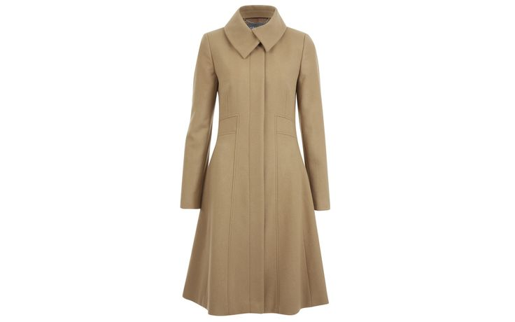Wrap Collar Velour Flared Coat