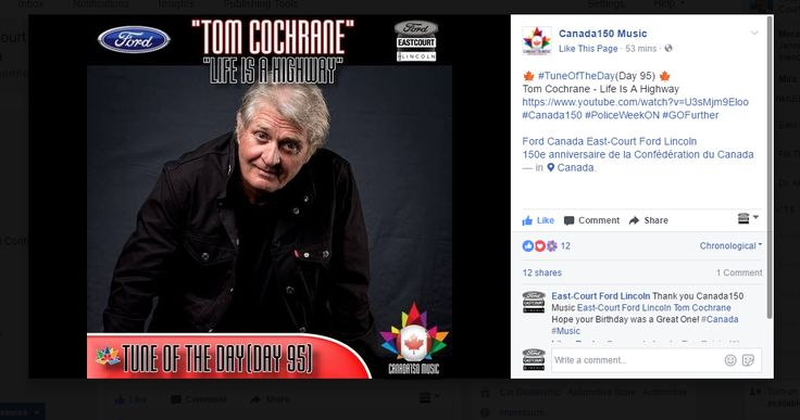 This is @TomCochraneMUS who has great music one of the favourites is #LifeIsAHighway @canada150_music check out our blog http://www.eastcourtfordlincoln.com/blog/index.html