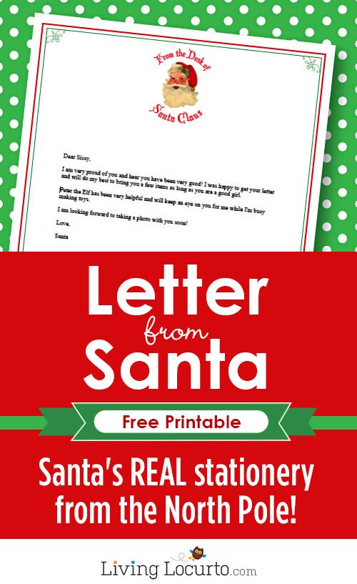 Santa's REAL stationery!  Type your text and then print with this Free Printable Stationery from the REAL North Pole. Perfect for an Elf on the Shelf welcome letter. by LivingLocurto.com #santa #christmas
