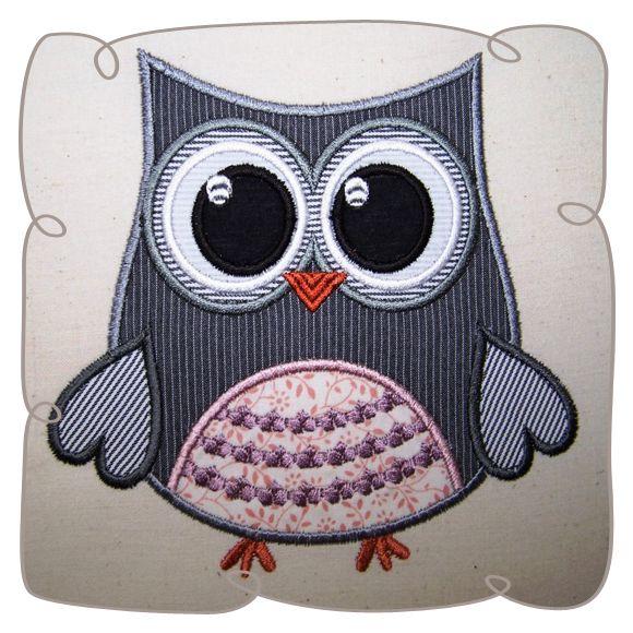 Applique Owl Critter Machine embroidery design