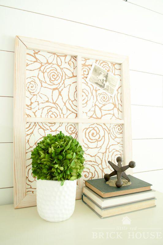 how to make a stenciled framed cork board - Framed Cork Board