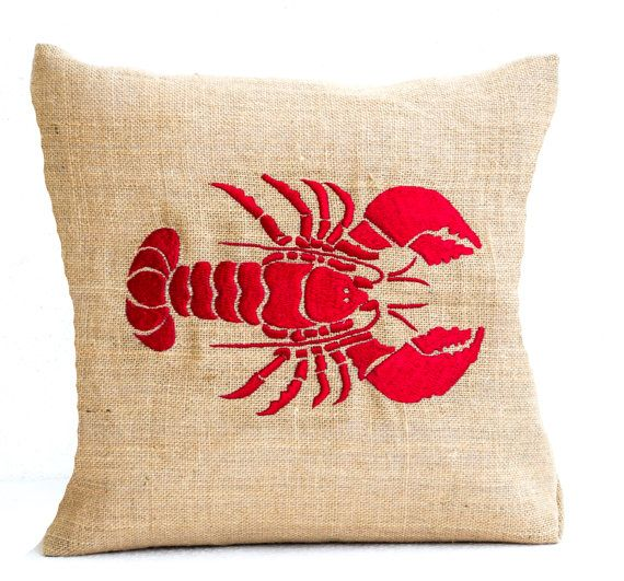 Sea pillow Embroidered lobster pillow Burlap pillow by AmoreBeaute