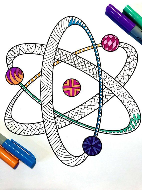 Atom Pdf Zentangle Coloring Page Etsy In 2021 Coloring Pages Atom Drawing Mandala Design Art