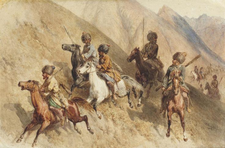 Cossacks riding in mountainous terrain, Crimean War