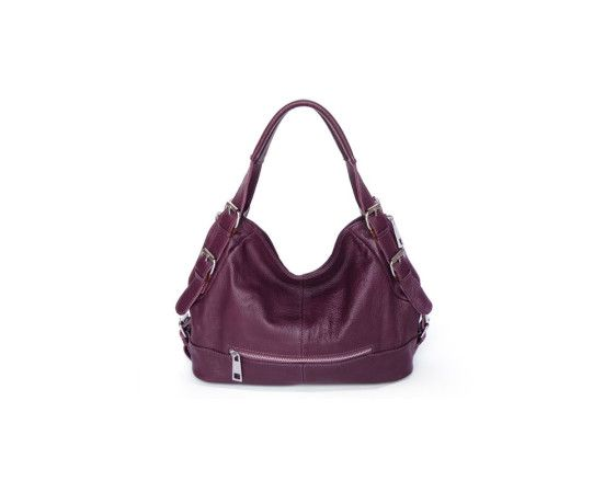 Genuine leather hobo hanbag in a stylish purple color. The dimensions of the bag is 13″L x 5″D x 10.5″H inches (33cm L x 13cm D x 27cm H), and the inside is lined with durable fabric and contains zip locked pockets and pockets for wallets and phones. A long adjustable strap is included for carrying the bag over the shoulder.