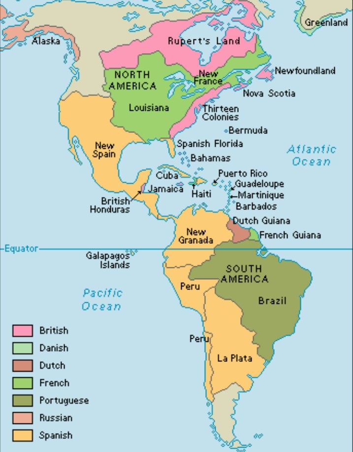 his map shows european colonies in the americas around at that time european colonies covered extensive areas in north central and south america