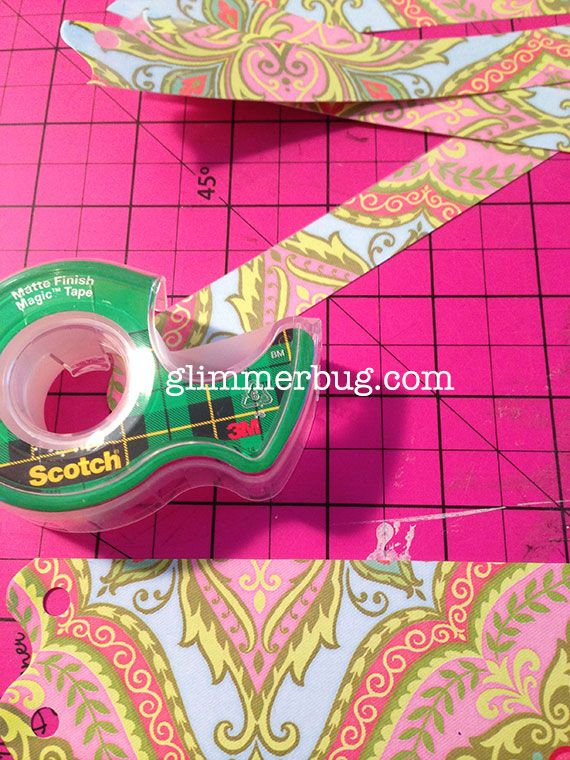 Make your own washi tape with patterned paper and matte Scotch tape.