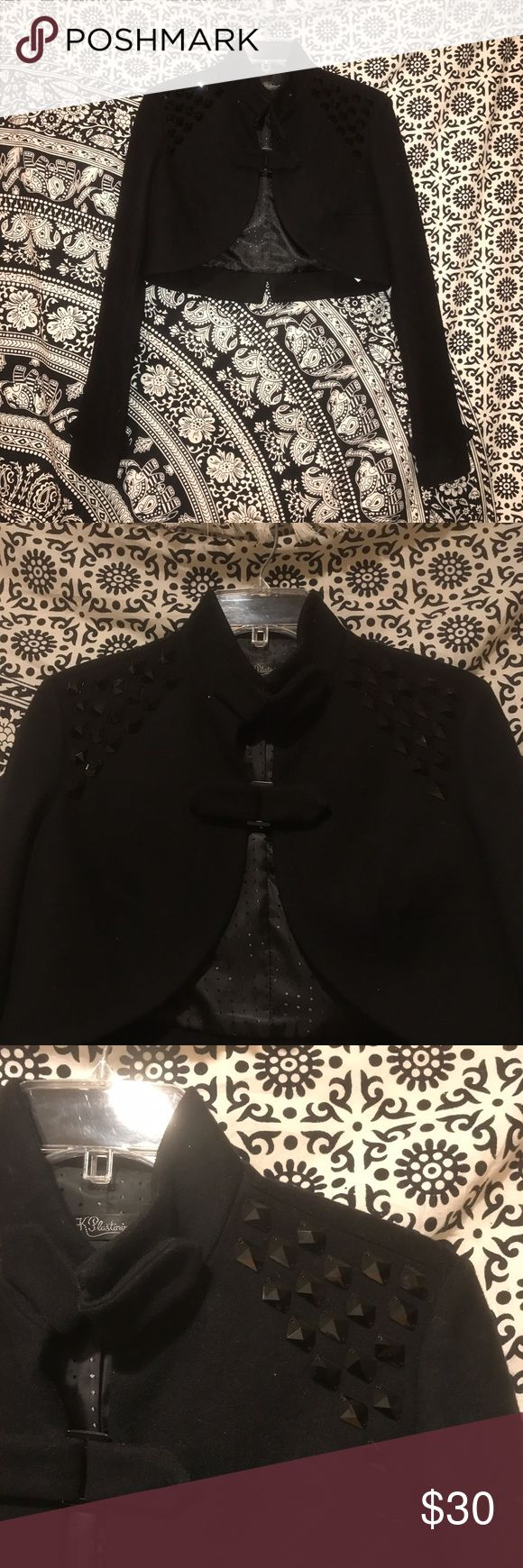 Black short coat Thick coat material. Has black studs on the shoulders of the jacket. Worn once. Great condition. K Plastinina Jackets & Coats