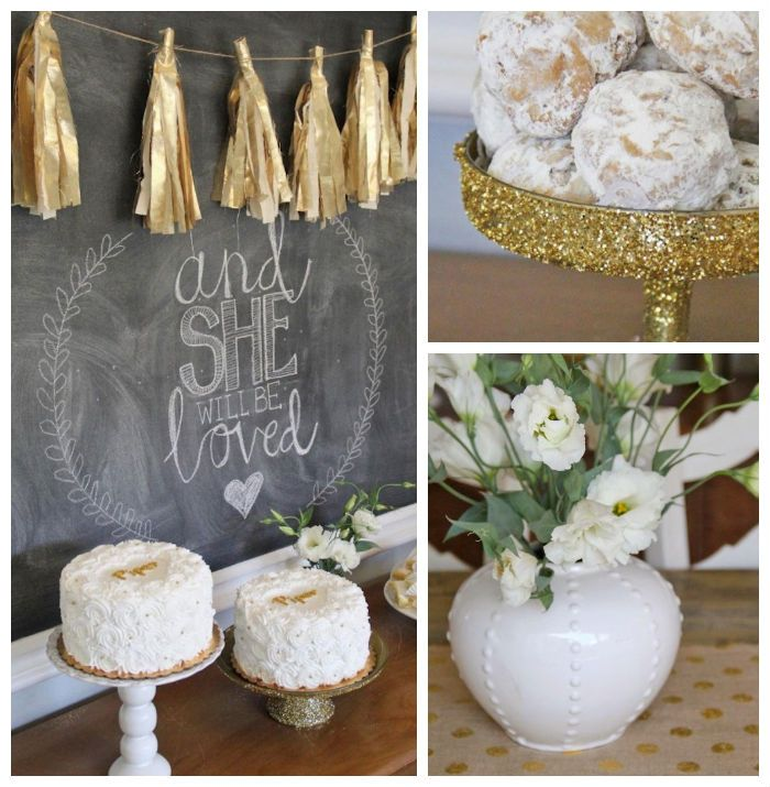 """Gold """"and she will be loved"""" Baby Shower via Kara's Party Ideas KarasPartyIdeas.com Cake, garland, decor, favors, food, and more! #genderneutralbabyshower #goldbabyshower #babyshower"""