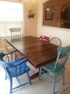 This is what my table will look like when put together. Mixed match chairs