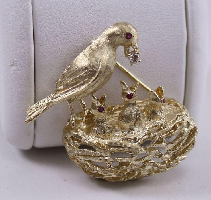 14K Yellow Gold Diamond Birds Nest Pin Brooch Ruby Eyes Mother Feeding Baby Bird #Unknown