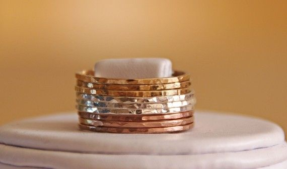 stackable rings. gold silver and rose gold. best of all worlds, eh, @Kayla Saffell Goodrich?