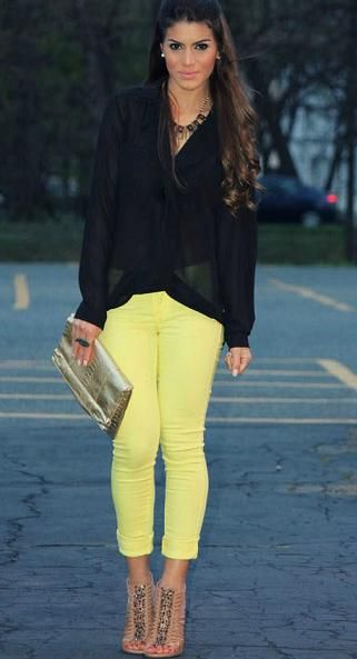 Colored jeans black top