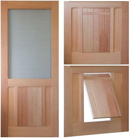 Saranac Traditional style screen/storm door. Solid Wood Pet Doors. Plastic pet doors on the market just don't have style. At Vintage Doors we make solid wood doors that make your home beautiful and keep your pet happy. Pick any screen door model and select P2, P3 or P4 on the order form for the type of panel layout you want for your pet door.
