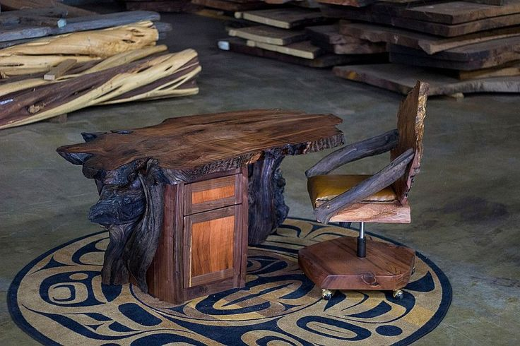 Hand-crafted natural wood home office table and chair