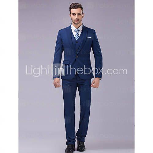 Suits Slim fit Tyndt spidsrevers Single Breasted En-knap 3 dele Blå 2626331 2016…
