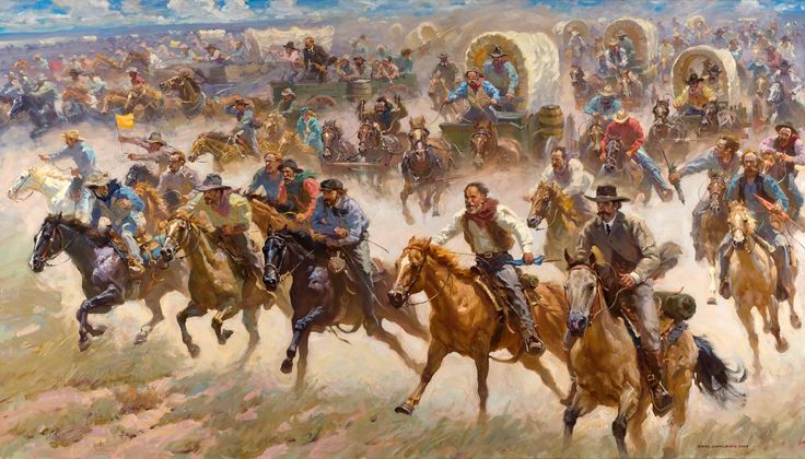 22 April 1889 1889 – At high noon, thousands rush to claim land in the Land Run of 1889. Within hours the cities of Oklahoma City and Guthrie are formed with populations of at least 10,000