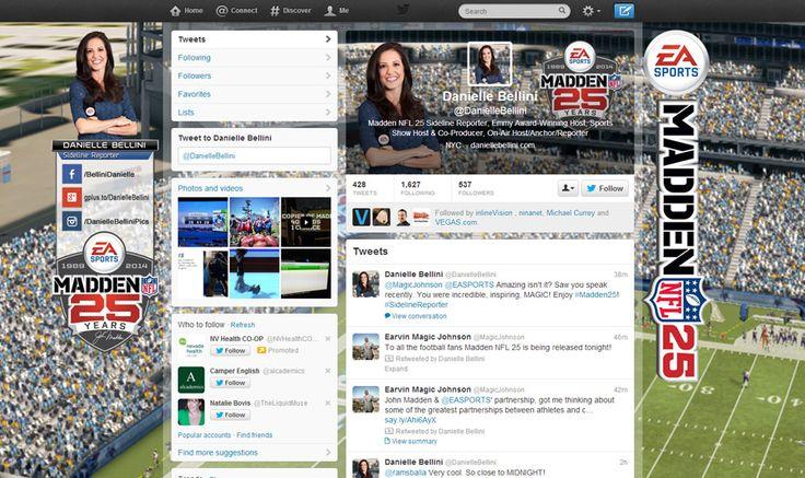 Danielle Bellini Twitter Branding. Seamless background, header and profile image.