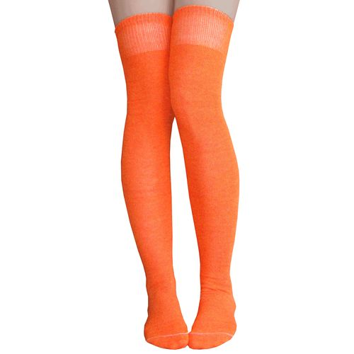 Orange thigh high socks that go over your knees.  Made in USA Chrissy's Socks 877-862-6267