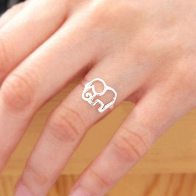 Cute Simple Hollow Elephant Silver Ring for only $15.90 ,cheap Fashion Rings - Jewelry&Accessories online shopping,Cute Simple Hollow Elephant Silver Ring is a unique gift for her!