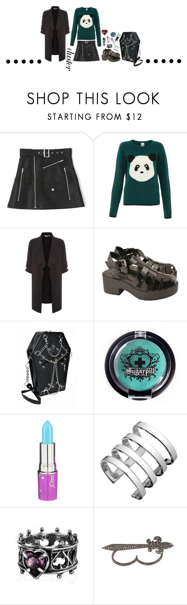 """punk rock panda"" by sundaygray ❤ liked on Polyvore featuring Yumi, Dorothy Perkins, Windsor Smith, CO, Sugarpill, Anna Sui, Lime Crime and Elise Dray"