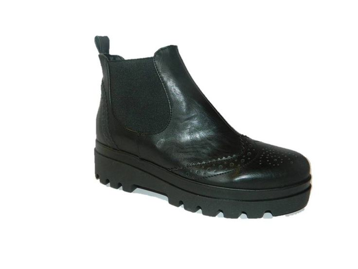 Stivaletti scarpe da donna stile inglese nero fondo carrarmato made in Italy