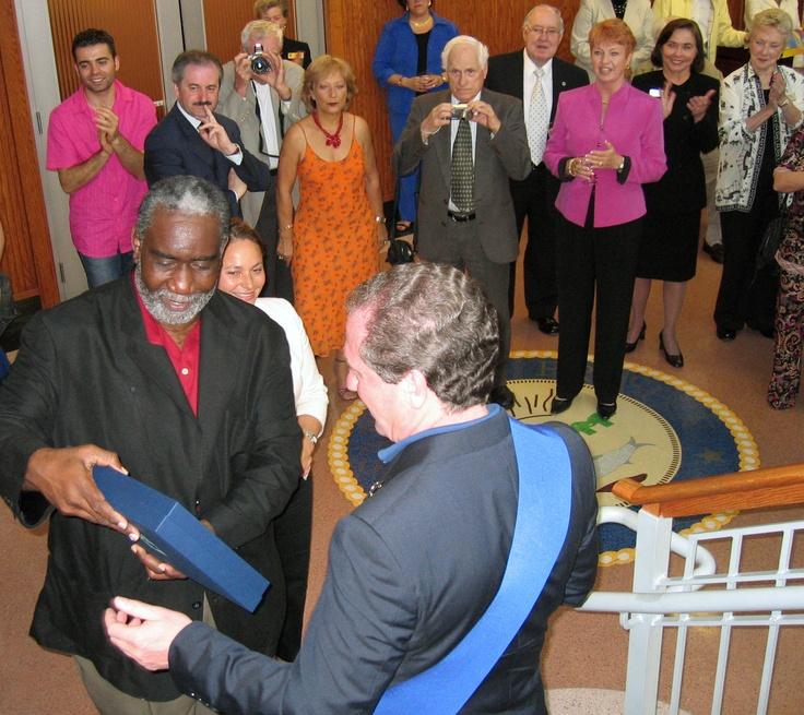 Treviso Province President Leonardo Muraro gift presentation to Sarasota Mayor Fredd Atkins in Feburary 2007