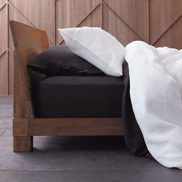 dark sheets with white duvet