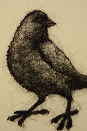 Woh! Beautifully amazing. (not felted wool, but wool poked through paper). By Stephanie Metz.
