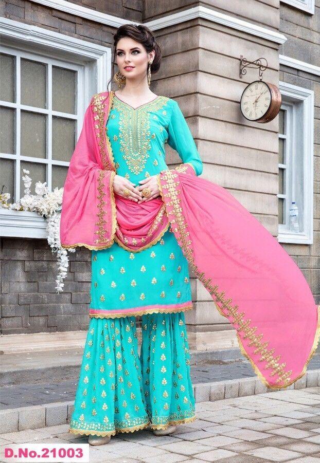 ff67ae79a068 Bollywood Wedding Indian Pakistani Embroidery Sharara Kameez Womens dresses  XL | eBay