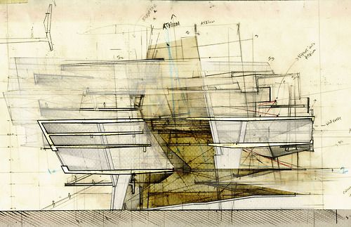 markmakingtheory:    drawingarchitecture:    Buenos Aires Court House  Andre Gharakhanian  2012. Mixed Media.    I love how architecture can be a conceptual narrative that can evoke art. I spend time exploring new ways of communicating, and understanding ideas through graphics in architecture.   ~Savannah Mason