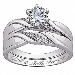 Affordable CZ and Diamond accents wedding ring set.