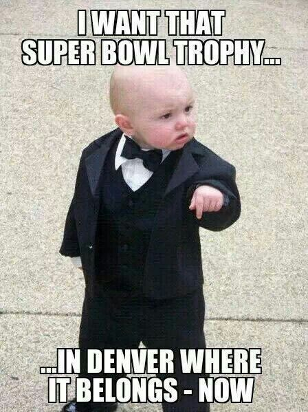The Broncos better deliver or they are going to have some explaining to do to this little guy #DenverBroncos #SuperBowl