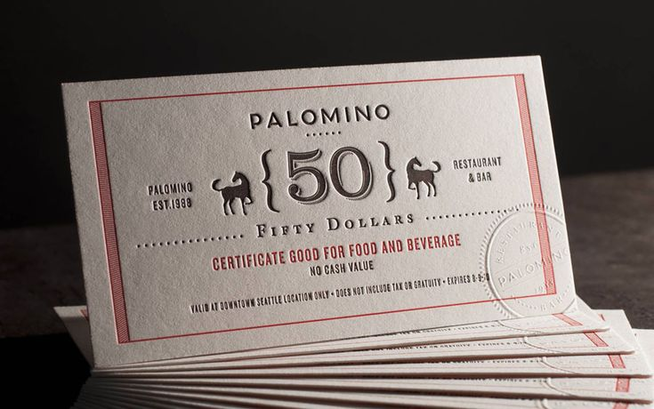 Beautifully detailed certificates for the Palomino restaurant and bar in Seattle