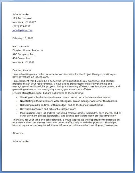 The 25+ Best Ideas About Project Manager Cover Letter On Pinterest