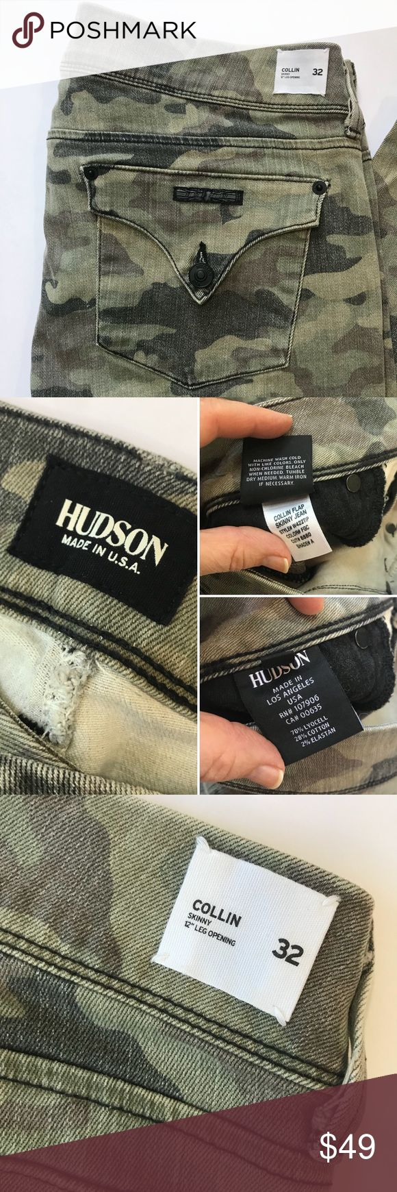 """Hudson Collin Flap Camouflage Skinny Jeans 32 Camouflage Collin Flap jeans skinny by Hudson. Inseam approx 30"""", Rise approx 9.5"""". Style W422TIP. Faded Green Camo. Excellent used condition. Hudson Jeans Jeans Skinny"""