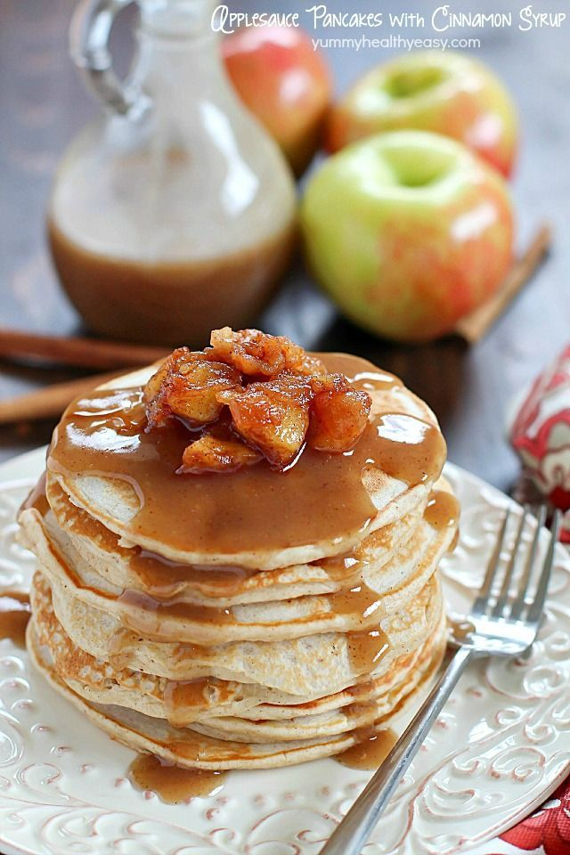 Start your morning with some Applesauce Pancakes with Cinnamon Syrup! They're healthier, light, fluffy and full of fall flavors! AD