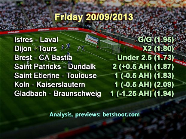 Read our picks for today, Friday 20 September!  More information and analysis at our homepage http://www.betshoot.com/