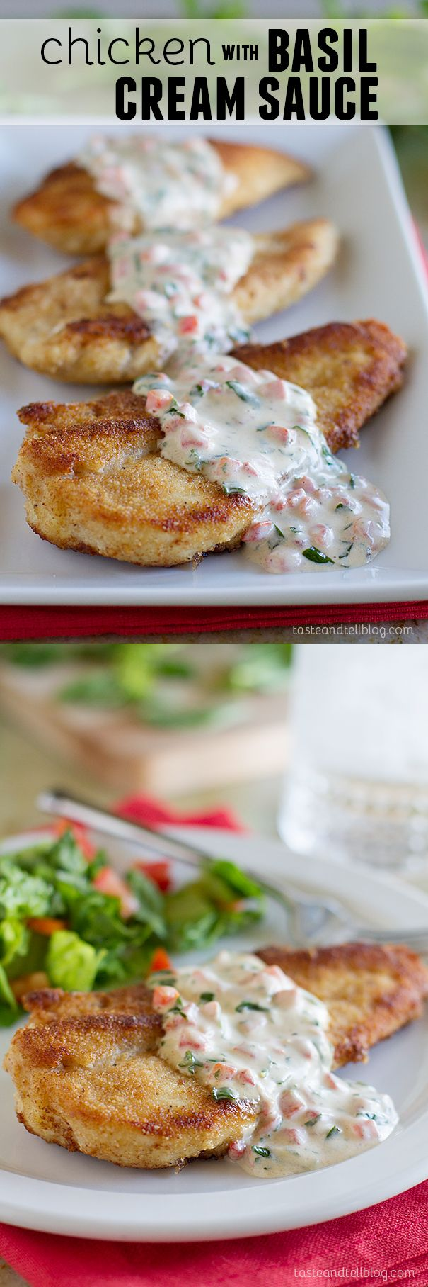 Chicken with Basil Cream Sauce - Fresh basil and pimientos make up the basil cream sauce that is served over crispy chicken. This Chicken with Basil Cream Sauce is a great end of summer supper!