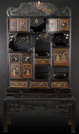 雕花螺钿木柜,日本,约 1900年